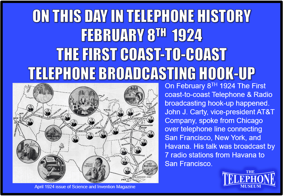 On This Day in Telephone History February 8TH 1924 - The Telephone