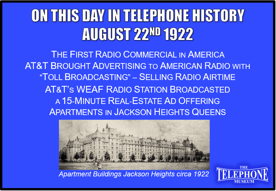 On This Day in Telephone History August 22ND 1922 - The